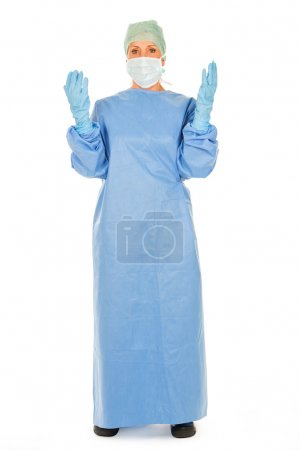 surgical woman doctor on white backgroung