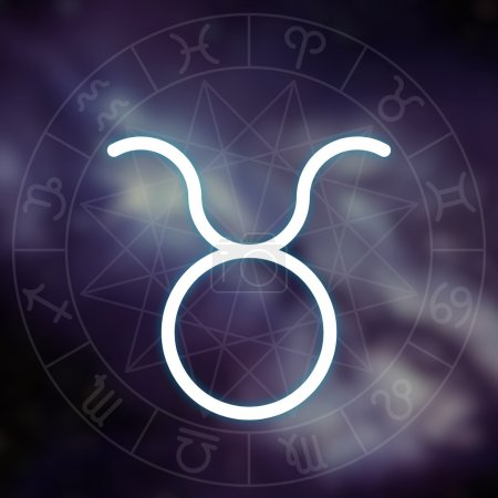 Zodiac sign - Taurus. White thin simple line astrological symbol on blurry abstract space background with astrology chart.