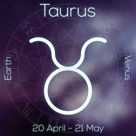Zodiac sign - Taurus. White line astrological symbol with caption, dates, planet and element on blurry abstract background with astrology chart.