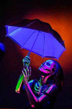 Skeleton bodyart with blacklight