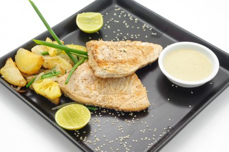 International gourmet dishes in restaurant