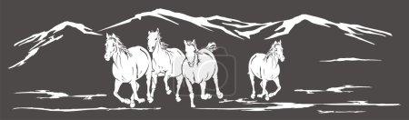 Illustration pour Un troupeau de chevaux - image libre de droit