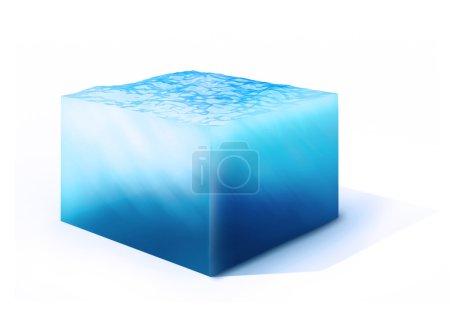 Photo pour 3d rendu illustration de sur la section transversale du cube d'eau isolé sur blanc - image libre de droit