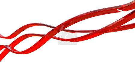 Photo for Red glass lines isolated on white - Royalty Free Image