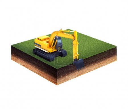 Ground with grass and excavator