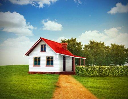 Photo pour Illustration 3D de la maison sur la pelouse verte avec un ciel clair - image libre de droit