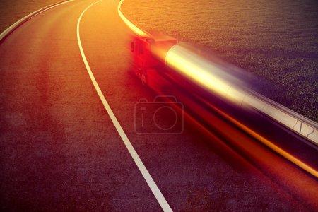 Photo pour 3d rendu illustration de camion rapide sur asphalte flou de mouvement de la route - image libre de droit