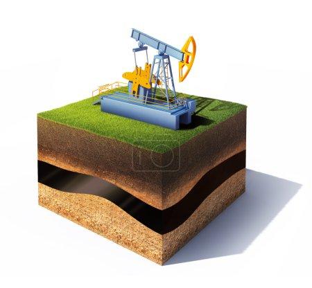 Photo pour Modèle 3d de section transversale du sol avec vérin de pompe à gazon et à huile isolé sur blanc - image libre de droit