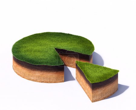 Photo pour 3d rendered illustration of sliced cross section of ground with grass isolated on white background - image libre de droit