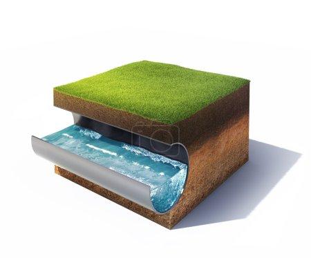 Photo pour Modèle 3d de section transversale du sol avec gazon et tuyau d'acier avec de l'eau isolée sur blanc - image libre de droit