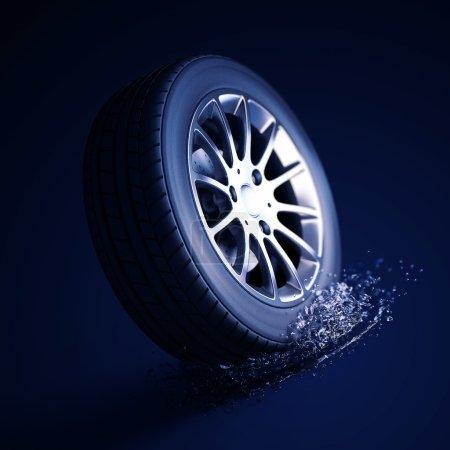 Photo pour 3d macro illustration of a car tire with water splash. Depth of field blur on black background. Selective focus. DOF blur effect - image libre de droit