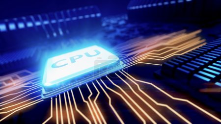 Photo for 3d rendered illustration of macro view central processor unit on mainboard with shine lines - Royalty Free Image