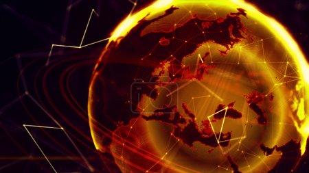 Photo pour 3D illustration détaillée virtuel planète terre. Technologie digital globe monde - image libre de droit