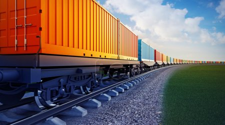 vagón del tren de mercancías con contenedores