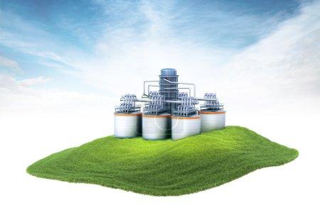 Photo pour Illustration en 3D d'une île avec une raffinerie de pétrole flottant dans l'air sur fond de ciel - image libre de droit