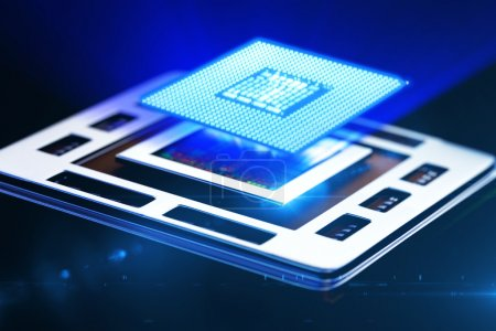 Photo for 3d rendered illustration of macro view central processor unit on mainboard - Royalty Free Image