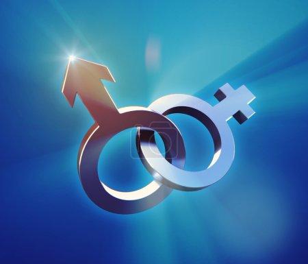 Photo pour Illustration 3D de symboles de genre sur fond bleu - image libre de droit