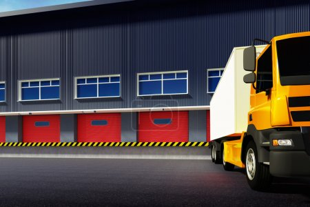 Photo for 3d illustration of industrial truck and warehouse - Royalty Free Image