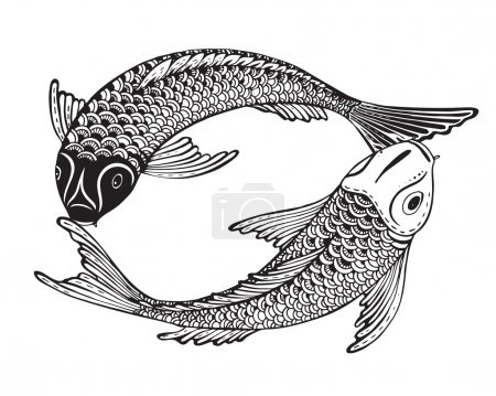Illustration for Hand drawn vector illustration of two Koi fishes (Japanese carp). Symbol of love, friendship and prosperity. Black and white image. Can be used for tattoo, print, t-shirt, coloring books. - Royalty Free Image