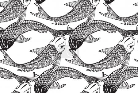 Illustration for Seamless vector pattern with hand drawn Koi fish (Japanese carp). Symbol of love, friendship and prosperity. Black and white endless background - Royalty Free Image