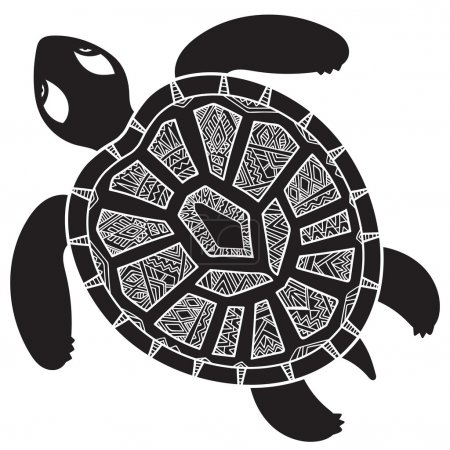 Decorative graphic turtle,  tribal totem animal, vector illustra
