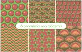 6 different seamless sea patterns (tiling). Vector illustration