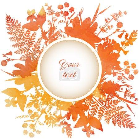 Illustration pour Cadre décoratif avec des fleurs d'aquarelle et des herbes avec place pour votre texte . - image libre de droit