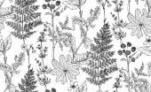 Bezešvá vektorová vzor květin a bylin