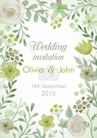 Illustration pour Invitation de mariage avec des fleurs et des feuilles. Aquarelle peinture à la main cadre vectoriel . - image libre de droit