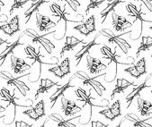Insects sketch decorativeseamless pattern with dragonfly fly b