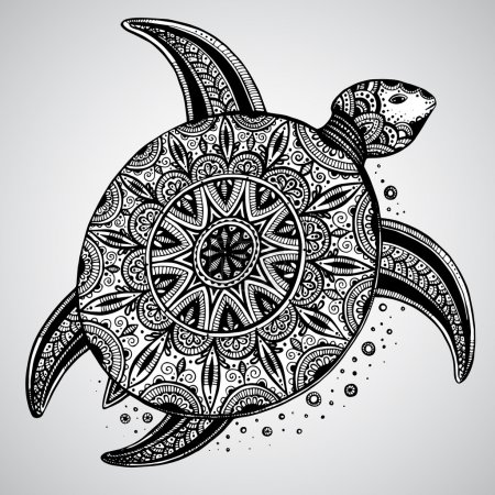 Hand drawn vector monochrome doodle turtle decorated with orient