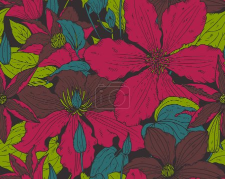 Floral seamless pattern on with hand drawn clematis flowers