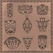 Vector set of hand drawn fancy masks in african style