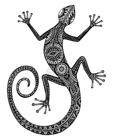 Vector hand drawn monochrome lizard or salamander ...