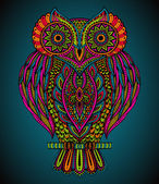 Colorful vector beautiful hand drawn ornate  owl in zentangle style for  t-shirt bag postcard poster