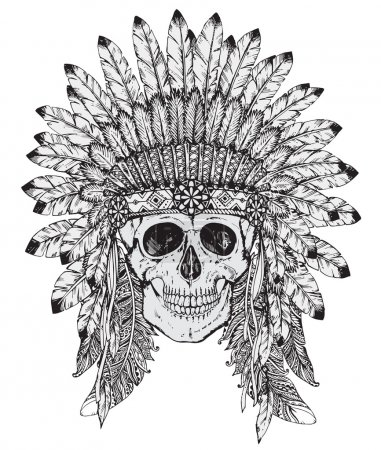 Hand drawn vector illustration of Indian headdress with skull