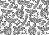 Seamless pattern with hand drawn fancy birds in ethnic ornate do