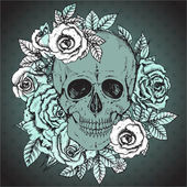 Vector illustration with hand drawn human skull rose flowers