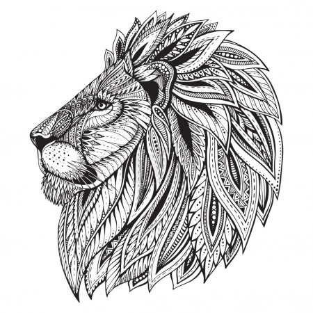 Illustration for Ethnic patterned ornate hand drawn head of Lion. Black and white doodle vector illustration. Sketch for tattoo, poster, print or t-shirt. - Royalty Free Image