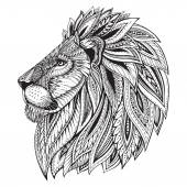 Ethnic patterned ornate hand drawn head of Lion