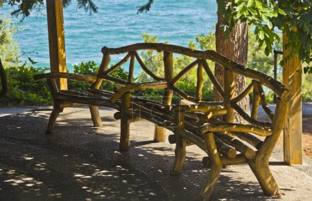 The bench in the gazebo in seaside Park. Aivazovsky.Paradise Park. Partenit.