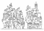 Hand drawn doodle houses