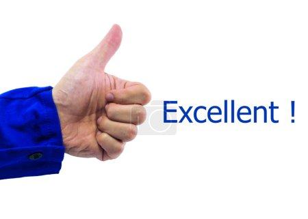 """Photo pour Un geste de pouce vers le haut de la main de l'homme avec le mot """"Excellent"""" - image libre de droit"""