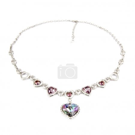 Diamond pendant isolated on white. Beautiful jewel...