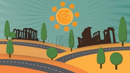 Cyprus landscape illustration