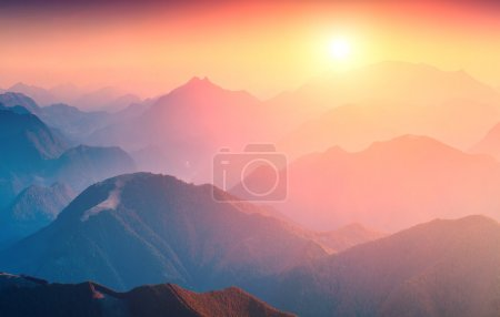 Great sunrise in mountains