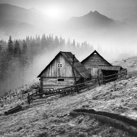 Mountain Carpathian village. Black and white