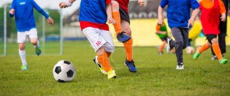 Children playing soccer football match. Sport soccer horizontal