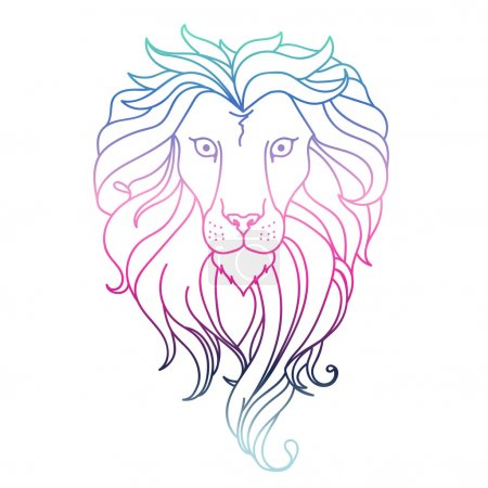 Drawing lion. Vector
