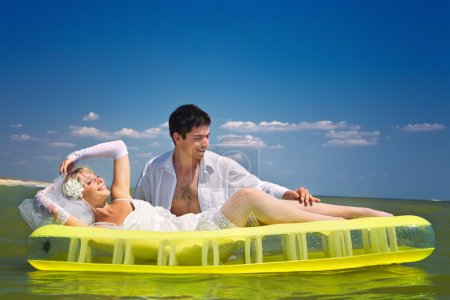 Couple having fun in sea